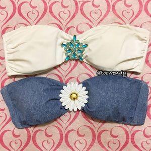 2 Victoria's Secret Pendant Bandeau Bikini Tops
